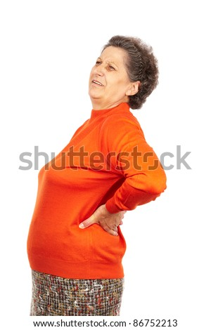 Senior woman with strong backache isolated on white background