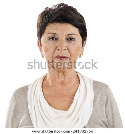 Senior Woman with Wrinkles - stock photo