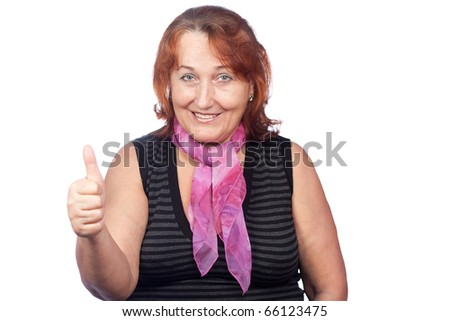 Senior women with hand gesture - stock photo