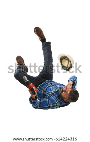 Senior worker falling on back isolated over white background
