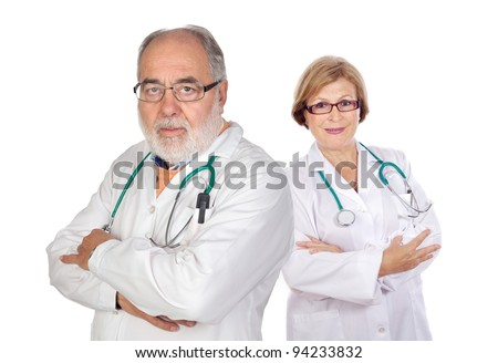 Seniors couple doctors doctor a over white background