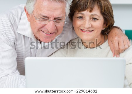 Seniors couple using a laptop computer with a loving - stock photo