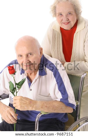 seniors in love - stock photo