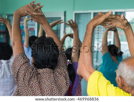 Seniors playing exercise
