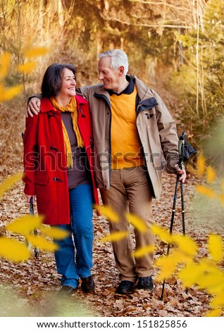 seniors walking in autumn forest / together - stock photo