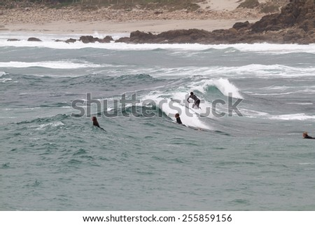 SENNEN COVE, CORNWALL, ENGLAND - 22 OCTOBER 2014: Surfers catching a wave on a cold autumn day,  on 22 October 2014 in Sennen Cove cornwall England.
