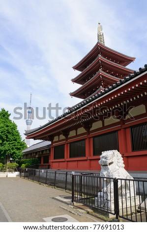 Senso-ji Temple and Sky tree - Asakusa, Tokyo - stock photo
