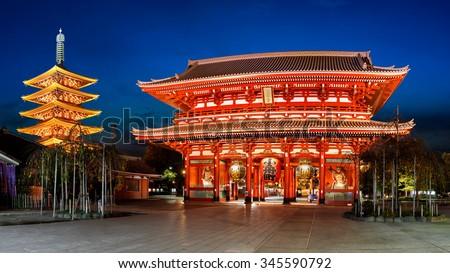 Senso-ji temple at twilight, Tokyo Japan - stock photo