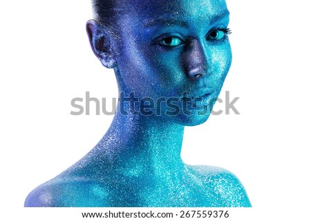 sensual attractive woman in blue paint on white background - stock photo
