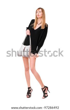 Sensual beautiful girl with the white purse - stock photo