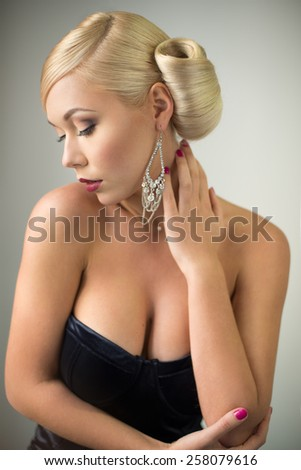 Sensual beauty woman portrait with hairstyle and make-up - stock photo