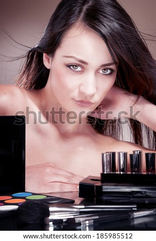 Sensual beauty woman with bare shoulder