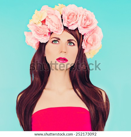 Sensual brunette Lady with floral wreath on her head. Roses, Spring, Romance - stock photo