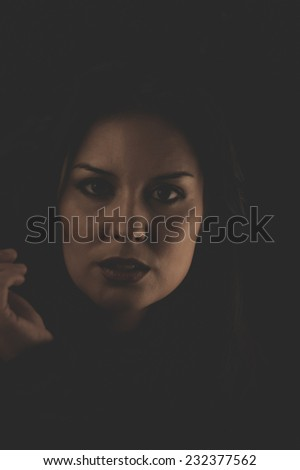 Sensual brunette smoking, snuff smoke addiction - stock photo