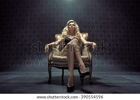 Sensual , confident blond woman  - stock photo