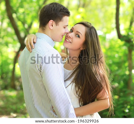 Sensual couple in love, kiss - stock photo