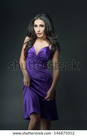 sensual fashion portrait of beautiful sexy brunette girl model   - stock photo