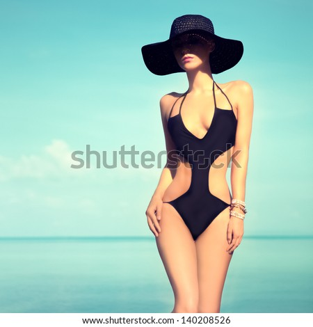 sensual girl on beach - stock photo