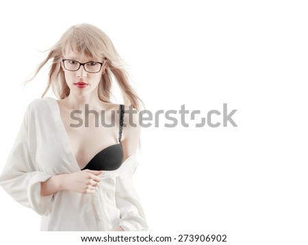 sensual girl show breast on white background with copyspace isolated - stock photo