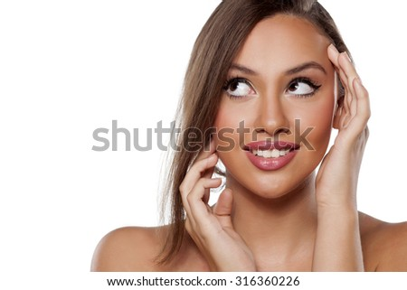 sensual happy woman posing on a white background