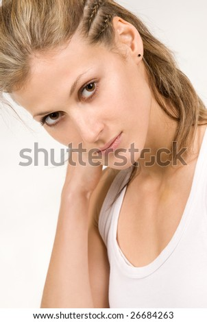 Sensual healthy young woman  portrait - stock photo