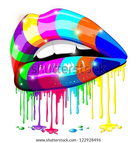 Sensual Lips Psychedelic Rainbow Glowing Paint - stock photo