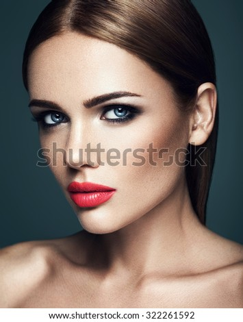 sensual portrait of beautiful  woman model lady with fresh daily makeup with red lips and clean healthy skin face  - stock photo