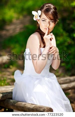 Sensual portrait of the bride - stock photo