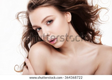 Sensual Portrait of Young Sexy Woman. Long Curly Hair. Attractive Model Girl. Glamour Hairstyle. - stock photo