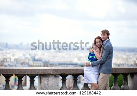 Sensual romantic couple is hugging on Montmartre in Paris - stock photo
