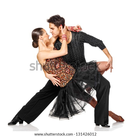 Sensual salsa dancing couple. Isolated on white background - stock photo