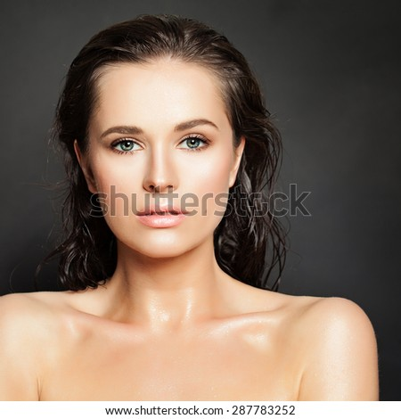 Sensual Woman Fashion Model. Water Drops on Healthy Skin. Beautiful Face - stock photo