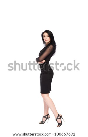 sensual woman full length posing in a black evening dress, sexy girl portrait isolated over white background - stock photo