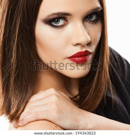 Sensual woman portrait. Face. Straight hair. Beauty lips.