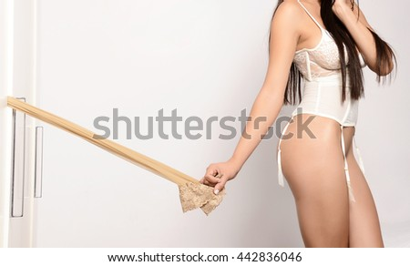 sensual woman with perfect sexy body in lingerie undress - stock photo