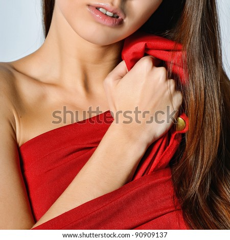 Sensual woman with red dress