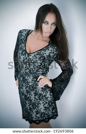 Sensual Young and Beautiful Female Model in Lace Dress - stock photo