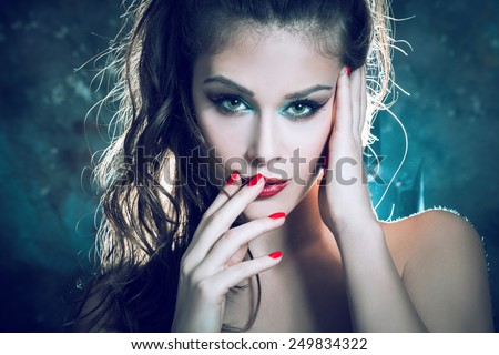 sensual young  woman beauty portrait - stock photo