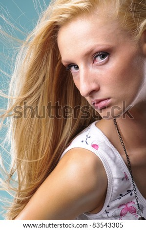 sensual young woman with beautiful long blond hair - stock photo