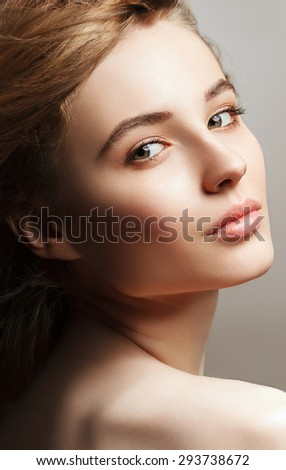Sensual young woman with natural makeup. Healthcare. Perfect skin. Beauty face. - stock photo