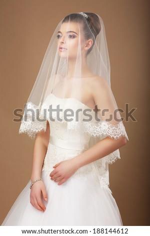 Sensuality. Woman with Transparent Wedding Veil - stock photo