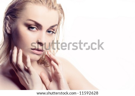 sensuality women portrait close-up - stock photo