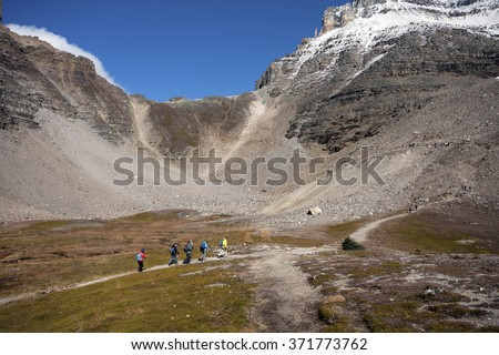 Sentinel Pass Hike, Lake Louise Banff National Park, Alberta, Canada Picture taken on September 26, 2015 - stock photo