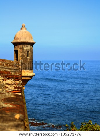 Sentry Box at Castillo San Cristobal, a historic Spanish colonial fortress in San Juan, Puerto Rico - stock photo