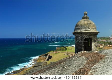 Sentry box overlooking the Atlantic Ocean at Fort San Cristobal in Old San Juan, Puerto Rico - stock photo
