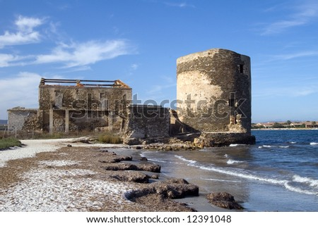 Sentry serf tower on coast, Sardinia, Stintino