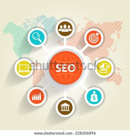 SEO and Infographic. Social media concept  - stock photo
