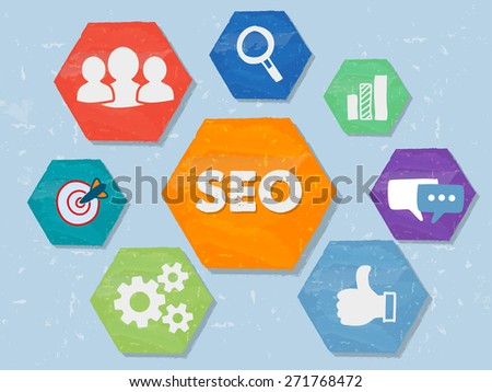 SEO and internet signs - white symbols in colorful grunge flat design hexagons, business technology concept icons - stock photo