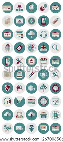 SEO and marketing icons. Flat icons marketing and seo - stock photo