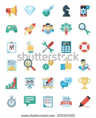 SEO and WEB development icons.  Use a set of icons for the development of optimization to promote your website. - stock photo